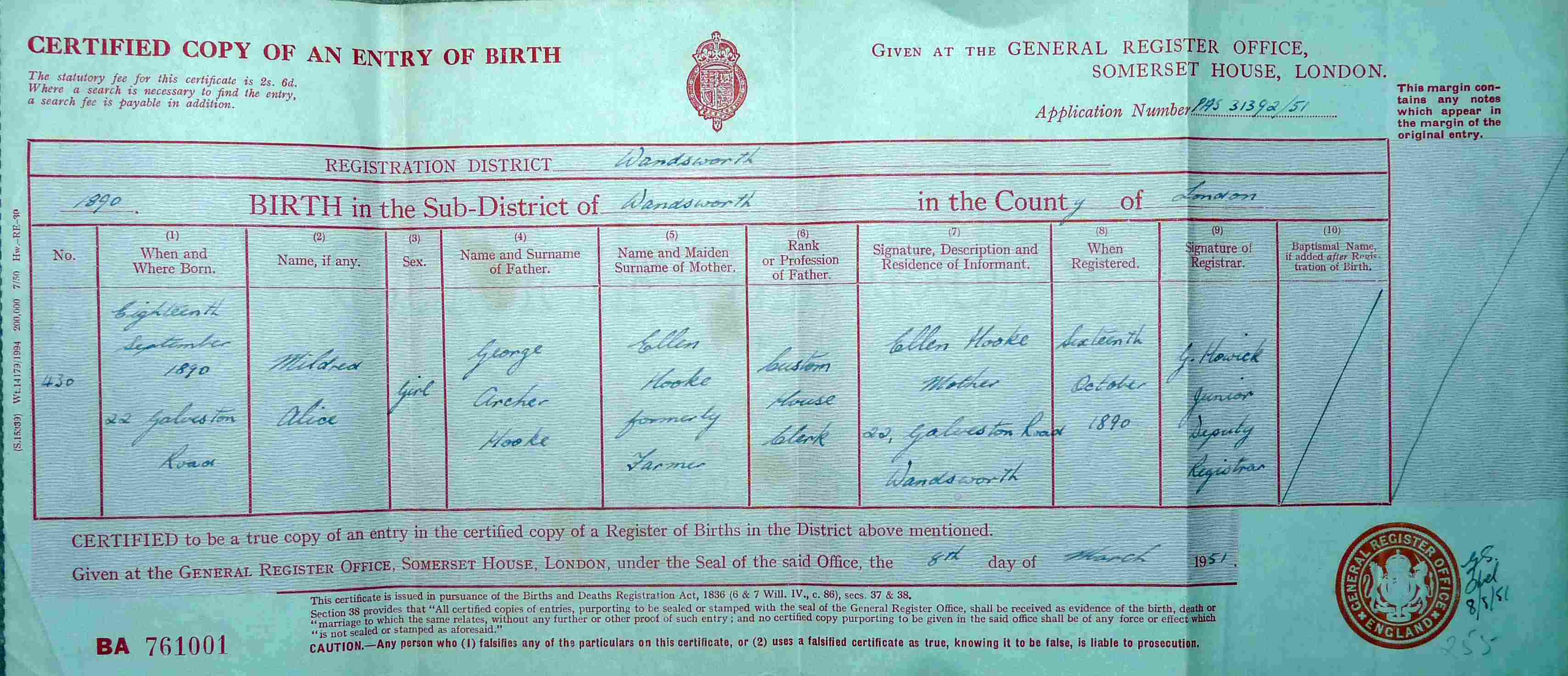 George a ellen hooke 1850s 1930s birth cert and aiddatafo Choice Image