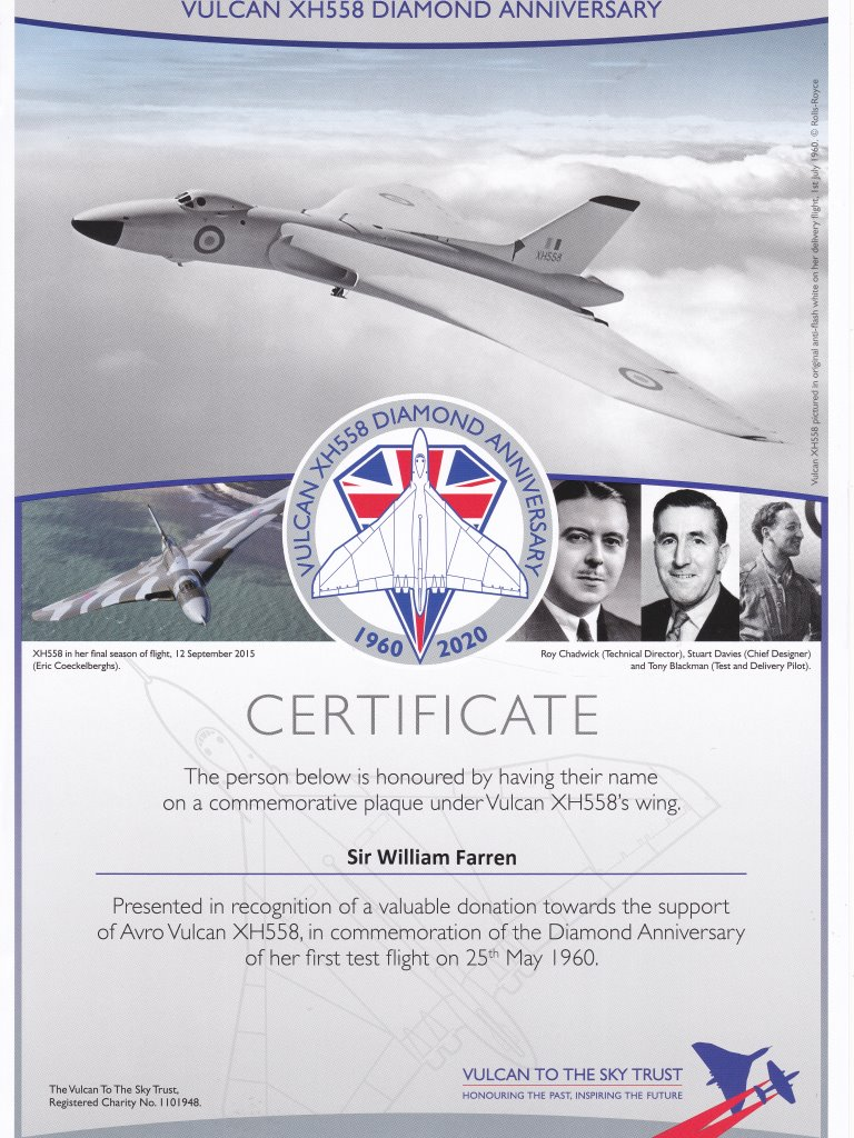 Vulcan Diamond Anniversary Sir William Farren certWEB