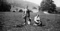 June 1933: En route to the Lakes - Cyril & Mildred at Bandon Bridge, near Bolton Abbey.