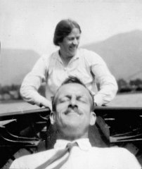 June 1933: Grasmere, Mildred takes the oars while Cyril relaxes!