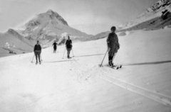 Mildred leading the way - ski-ing holiday, unknown location and date.