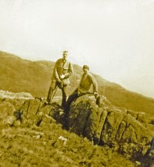 The Hookes then and today love the mountains. Easter Sunday 1924, Cyril & Mildred at Pen y Pas, Snowdon.